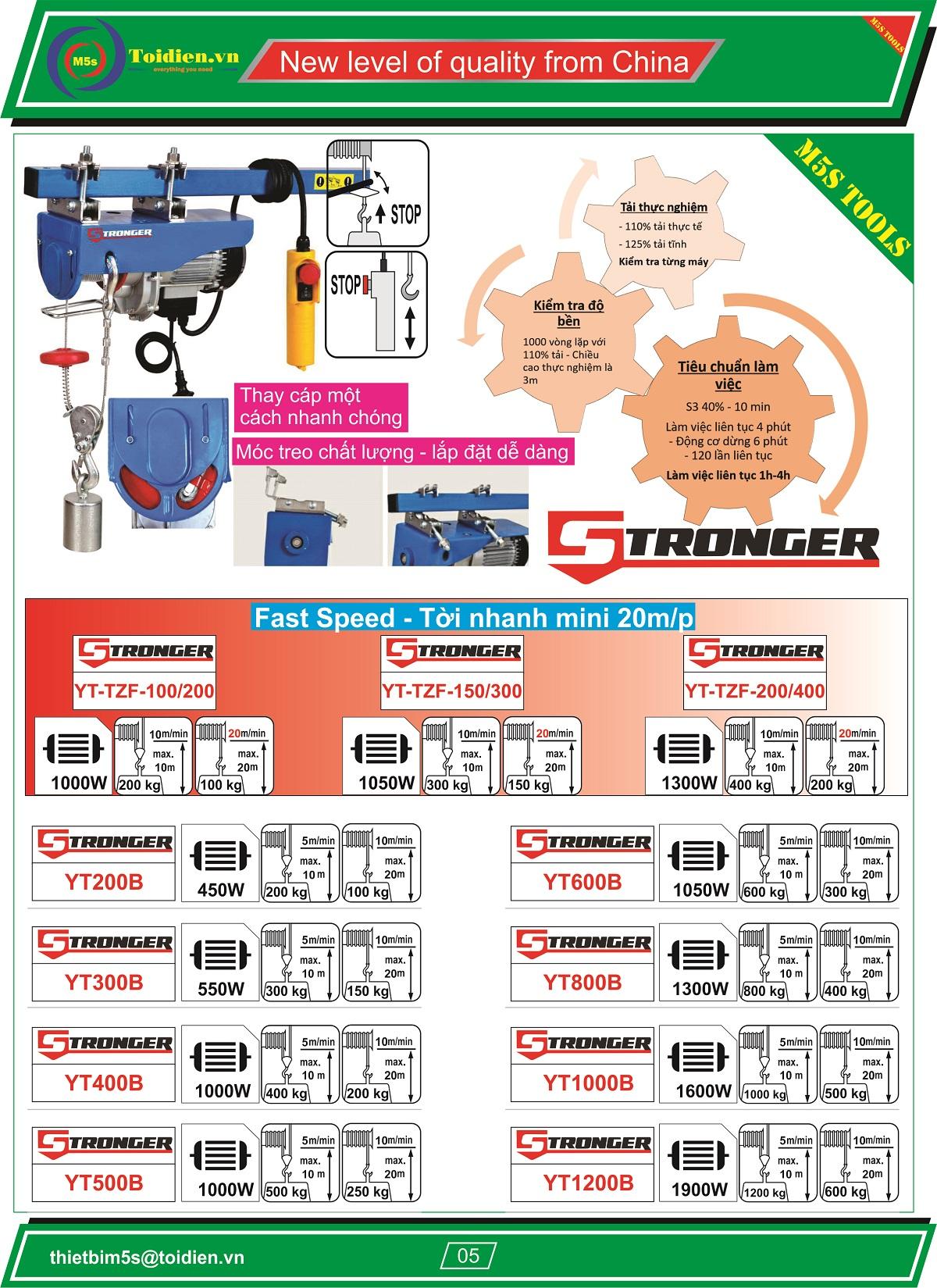 máy tời điện nhanh STRONGER 200kg