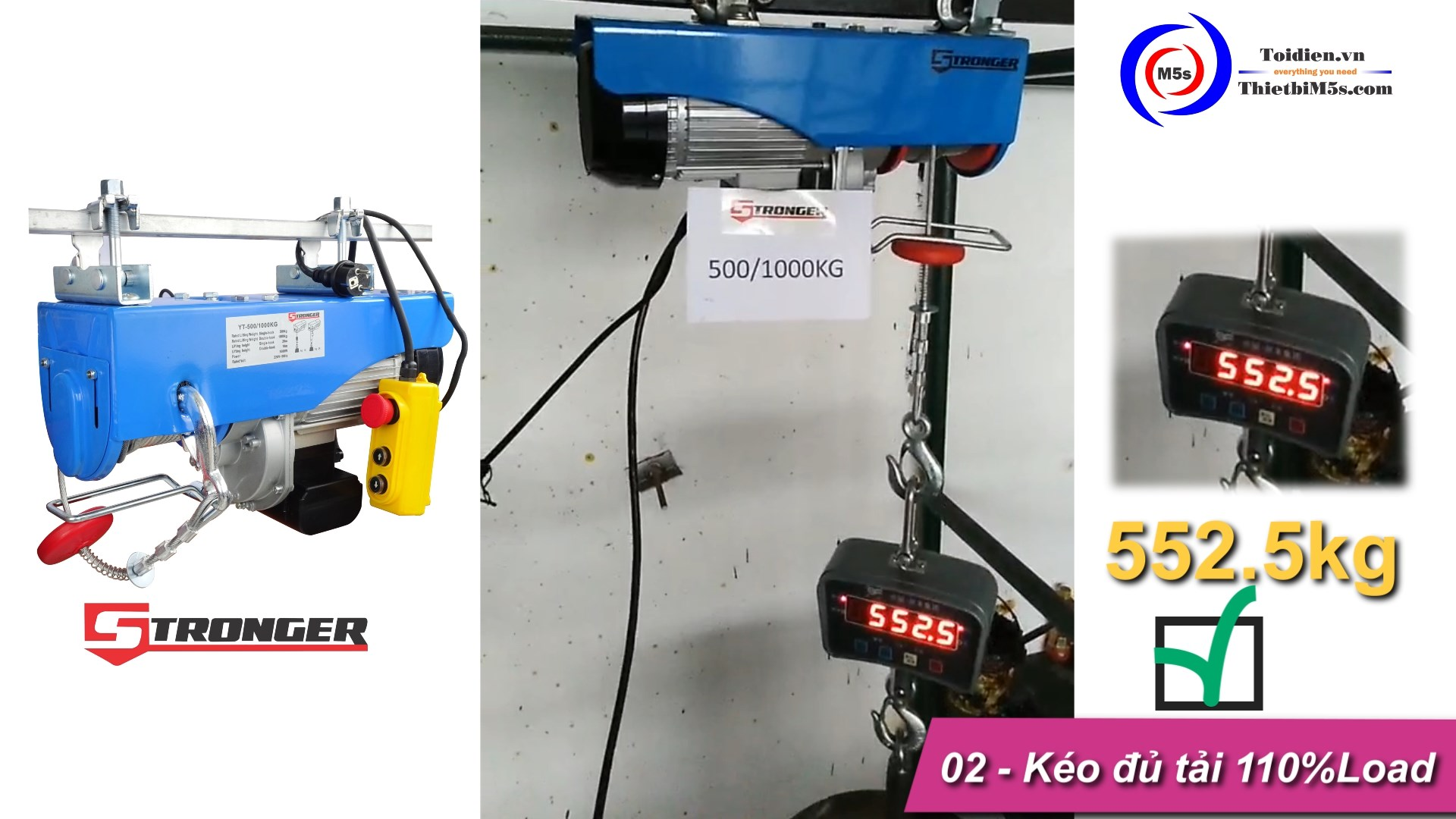TỜI ĐIỆN MINI 500-1000KG STRONGER