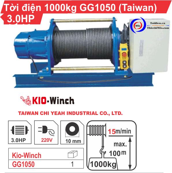 Máy tời kéo mặt đất 1 tấn KIO Winch GG-1050