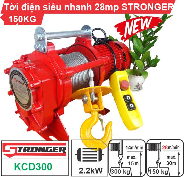 Máy tời điện xây dựng 150/300kg Stronger tốc độ cao