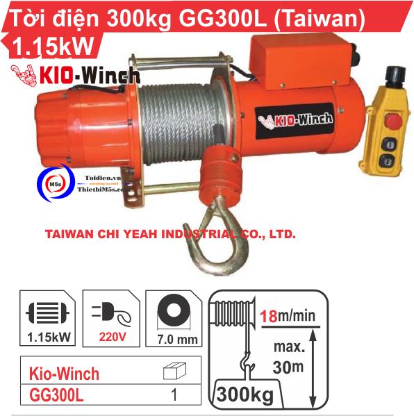 TỜI ĐIỆN 300KG KIO WINCH GG-300L