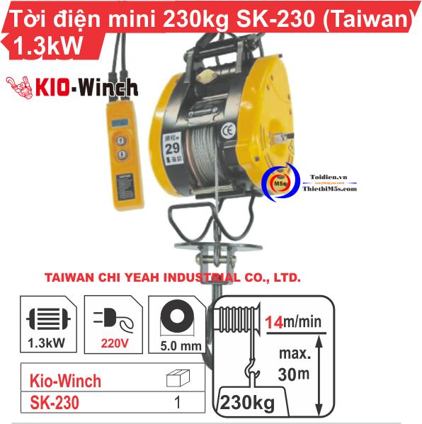 Tời điện mini 230kg KIO Winch